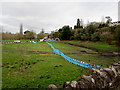 SO5924 : Turquoise temporary fence, Ross-on-Wye by Jaggery