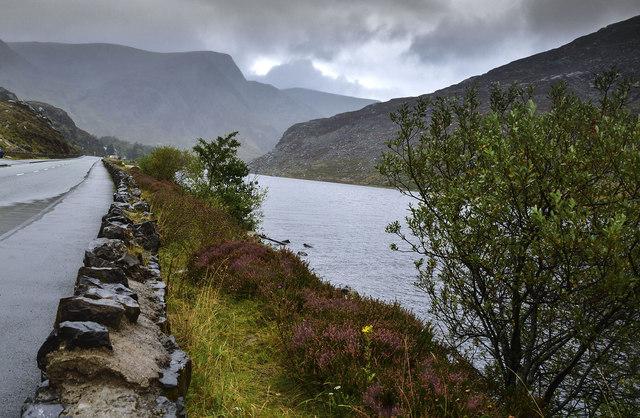 Llyn Ogwen with view along the A5 toward Cwm Cywion