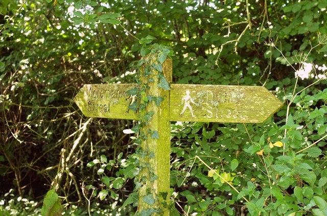 Footpath signpost, Cerne Abbas