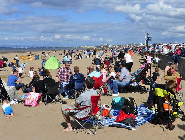 A large crowd at Ayr Beach