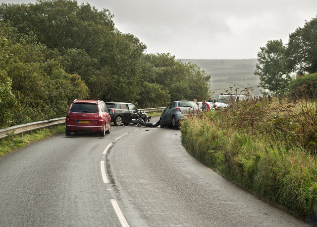 A road traffic accident on the A39 near Parracombe