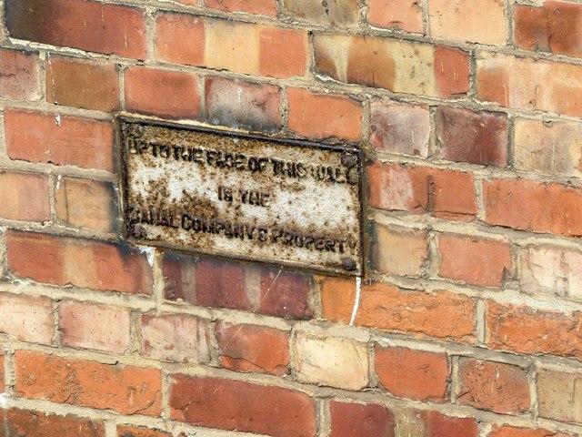 Boundary sign alongside the Nottingham Canal, Carrington Street by Alan Murray-Rust