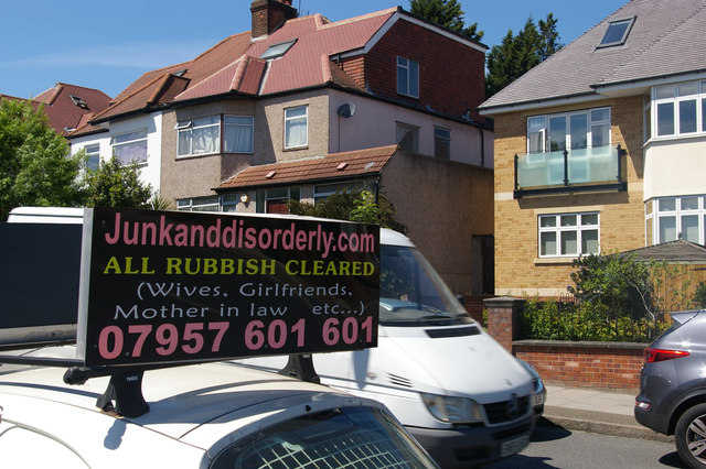 Houses and advertisement on Finchley Lane, Hendon