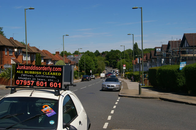 Finchley Lane, Hendon, with advertisement