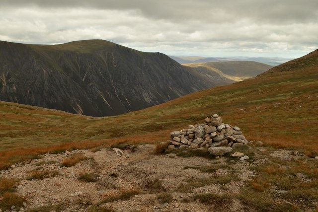 Cairn at the Top of Coire Dhondail Path, Cairngorms National Park