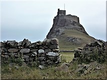 NU1341 : Wall Gap at Lindisfarne Castle by norman griffin