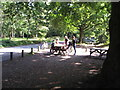 SU9585 : Cyclists at Burnham Beeches cafe by David Hawgood