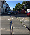 SY6779 : Railway lines cross King Street and continue along Commercial Road, Weymouth by Robin Stott
