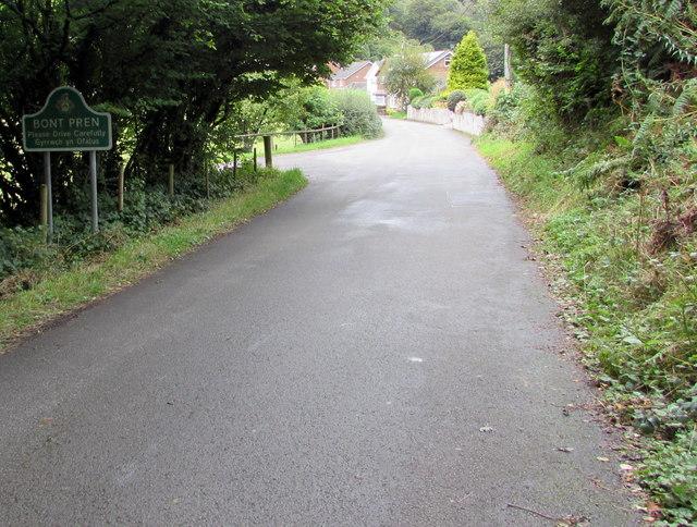 Bont Pren boundary sign