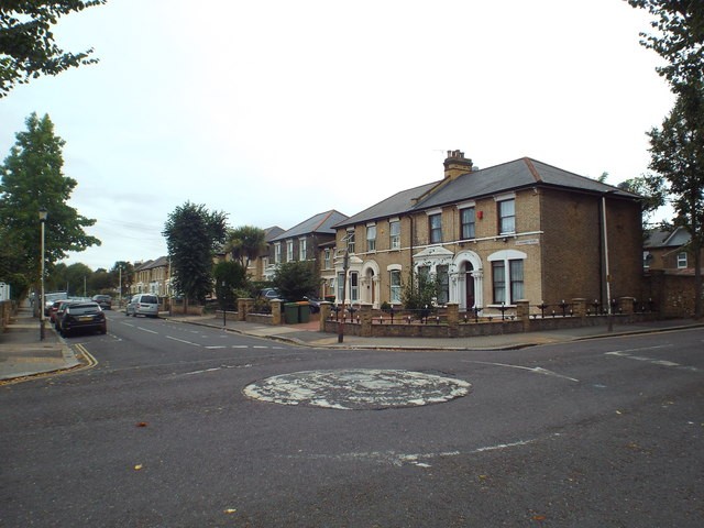 Mini-roundabout on Claremont Road, near Forest Gate