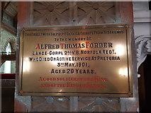 TG5307 : Boer War Memorial inside St John's Church by Helen Steed