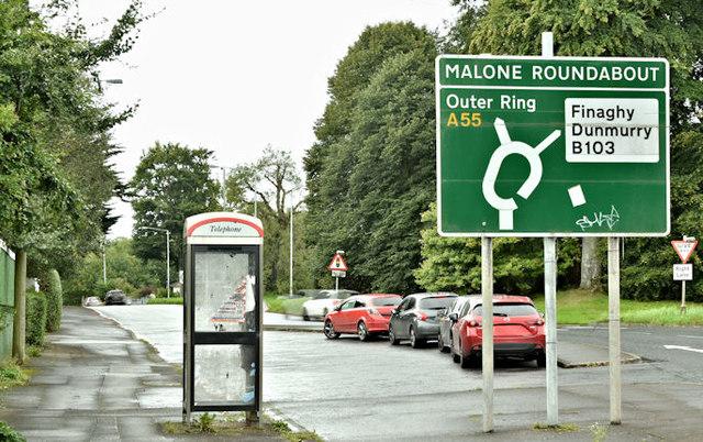 Telephone box, Malone Road, Belfast (September 2017)