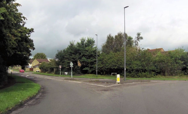 View up Orchard Way from A367 roundabout