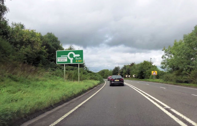 Signs for roundabout at north end of Peasedown bypass