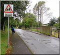 SO1610 : Warning sign - School, Station Approach, Pontygof, Ebbw Vale by Jaggery
