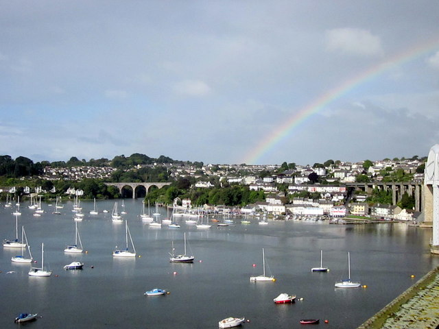 Rainbow Over Saltash Cornwall From Royal Albert Bridge
