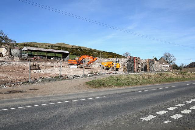 Demolition works at Brotherstone Farm