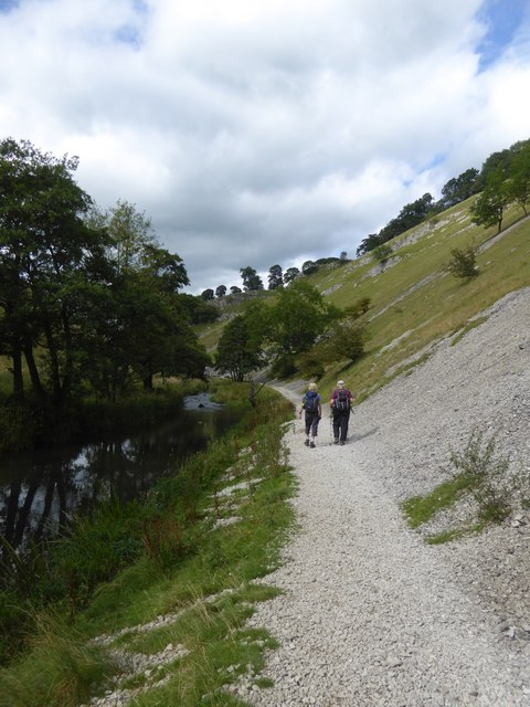 Path beside scree in Wolfscote Dale