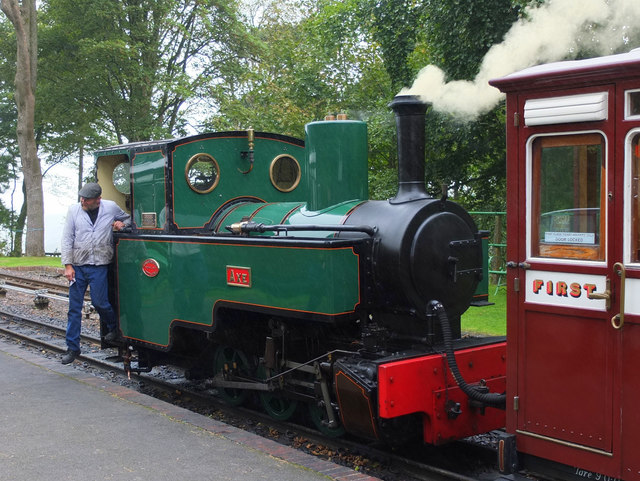Steam engine on the Lynton and Barnstaple Railway at Woody Bay Station