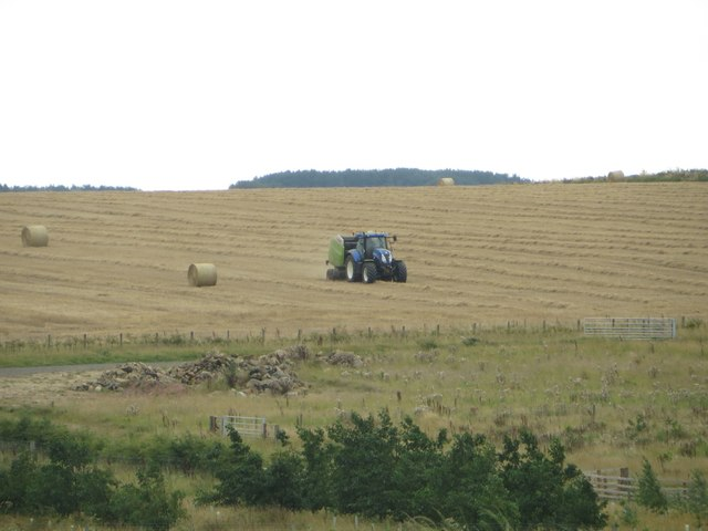 Baling straw on former opencast land at Stobswood
