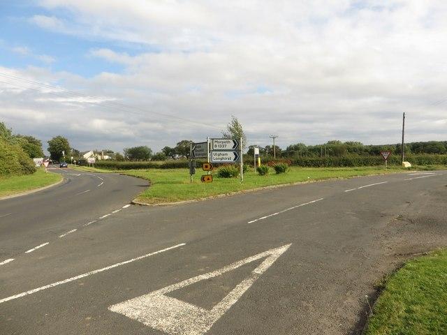 Road junction west of Widdrington Station