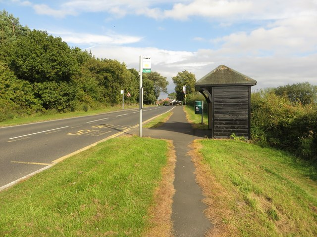 Bus stop and shelter, Grangemoor Road, Widdrington Station