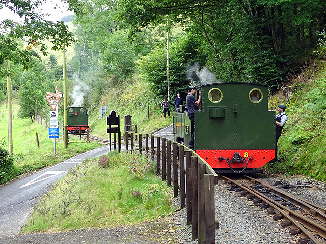 The level crossing at Aberffrwd, Vale of Rheidol Railway