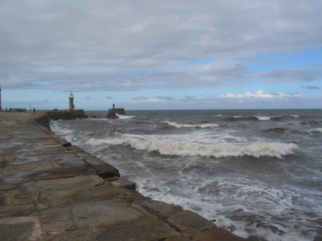 Choppy seas by East Pier