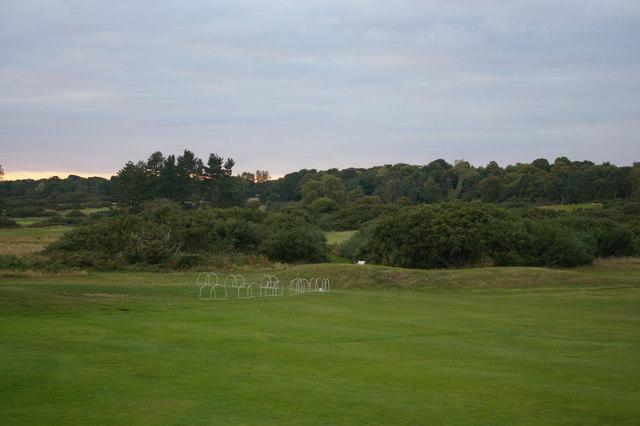 Line of the footpath across a fairway, Aldeburgh Golf Club