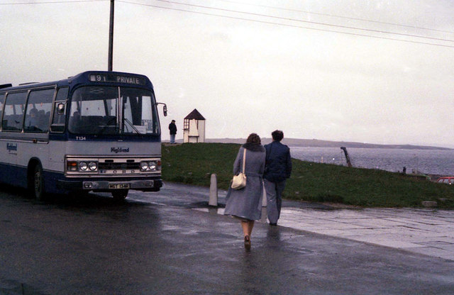 A Highland coach at John o' Groats - 1982