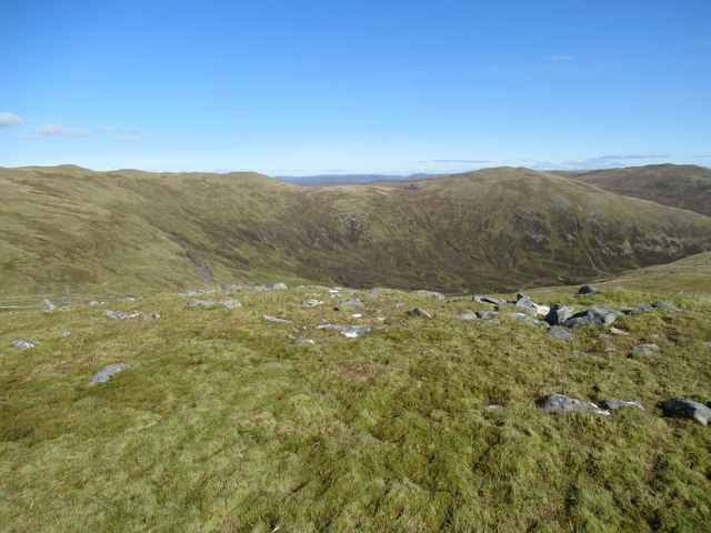 View north-east from cairn at 859m above Corrie Yairack on Speyside