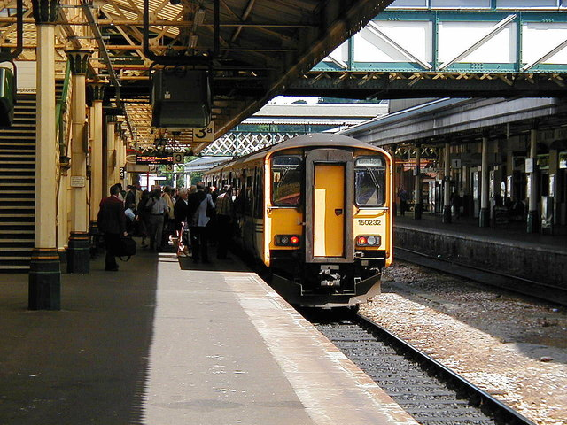 A well loaded train for Barnstaple at Exeter St David's station