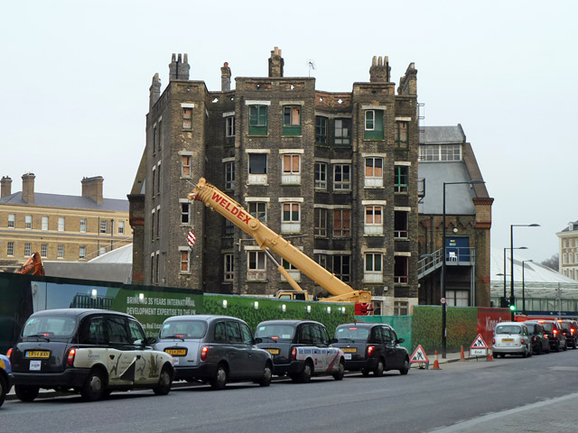 Spared building, redevelopment by St Pancras station, 2013
