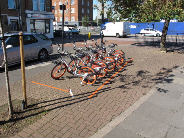 Cycle hire Mobikes  by Acton Main Line Station
