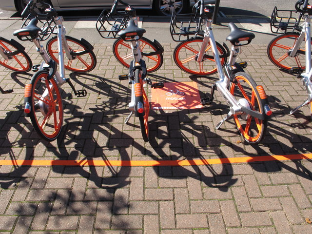 Mobikes in Acton, can be unlocked by smartphone app