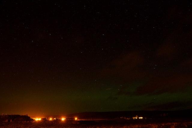 A faint aurora borealis over Baltasound