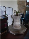 SX5699 : The Norman font in Inwardleigh church by David Smith