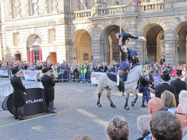 Girl gymnasts on horses, Edinburgh Riding of the Marches