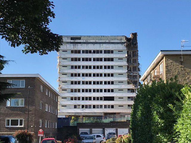 Hallam Tower Hotel - Demolition Begins - from Chesterwood Drive, Broomhill, Sheffield