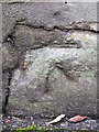 SJ2468 : Damaged bench mark by The Smithy, High Street, Northop by John S Turner