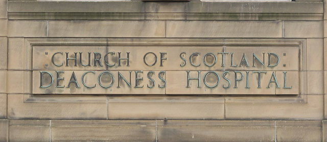 "Carved name with metal letters, ""Church of Scotland Deaconess Hospital"""