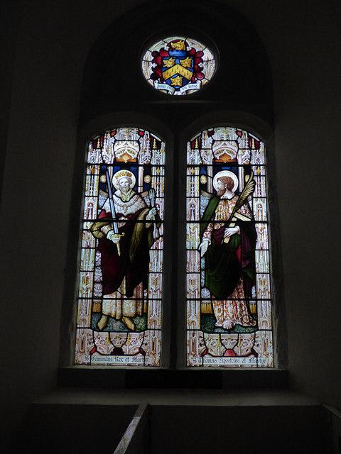 St Edmund, Marske - stained glass window with saints