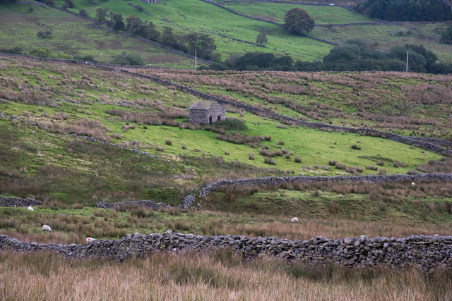 Dry stone walls, rough grazing and small barn