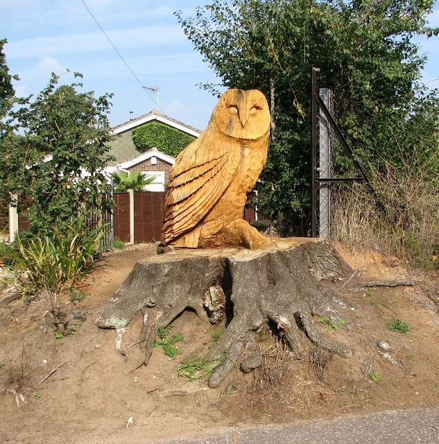 A large owl sculpture