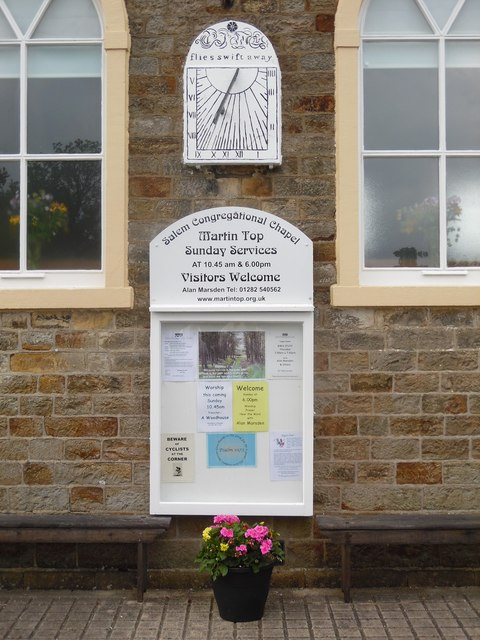 Noticeboard and Sundial at Salem Congregational Chapel, Martin Top