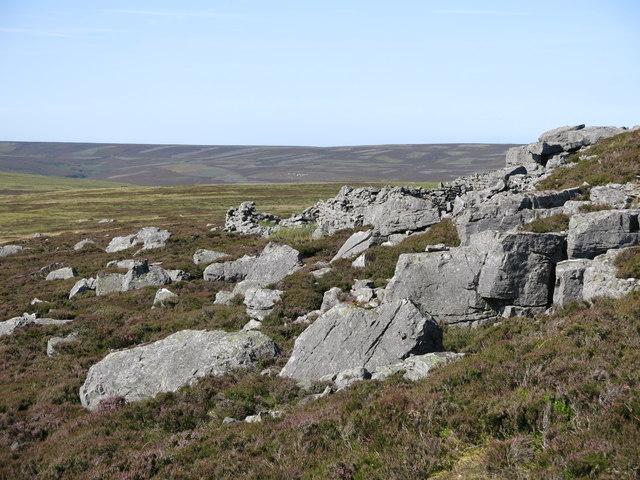Rock outcrop and sheepfold below Monk's Currick