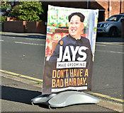 J3673 : Kim Jong-un advertisement, Belfast (September 2017) by Albert Bridge