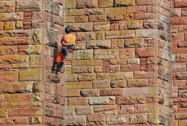 A maintenance worker at Leaderfoot Viaduct