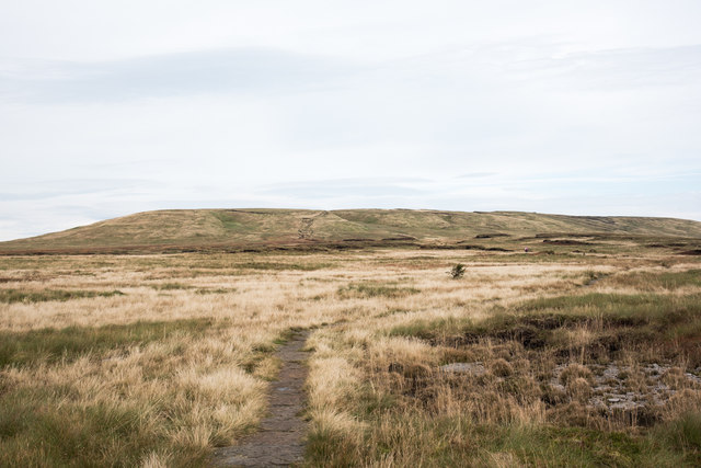 Paved route of Pennine Way heading for Great Shunner Fell