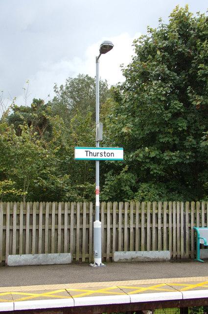 Thurston Railway Station sign